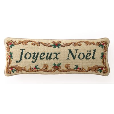 Embroidered Joyeux Noel Wool / Cotton Pillow