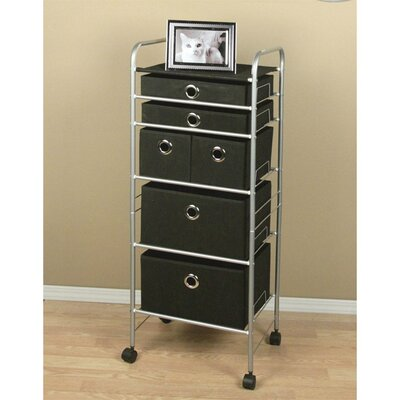 Free Standing Storage Polypropylene 6 Drawer Eyelet Cart