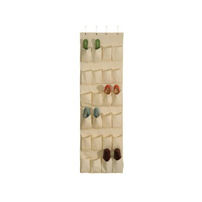 Richards Homewares Natural Canvas Storage 24 Pocket Over the Door Shoe Organizer