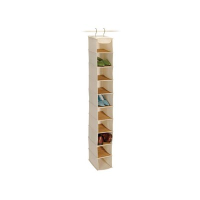 Bamboo and Natural Canvas Storage 10 Shelf Shoe Organizer