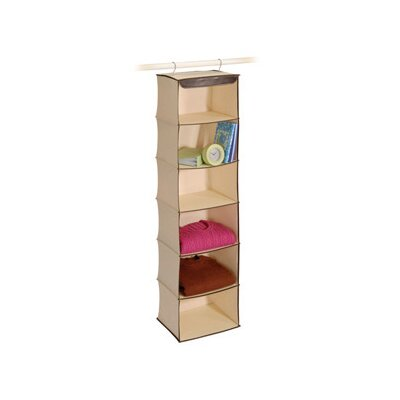 Richards Homewares Natural Canvas Storage Faux Trim 6 Shelf Open-Front Sweater Organizer
