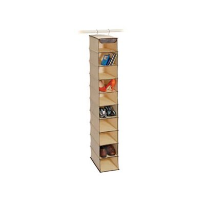Richards Homewares Natural Canvas Storage 10 Shelf Open-Front Shoe Organizer