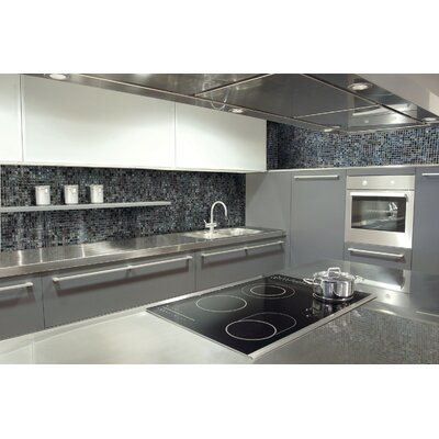 "Onix USA Geo Glass Square 11-4/5"" x 11-4/5""  Glass Mosaic in Black"