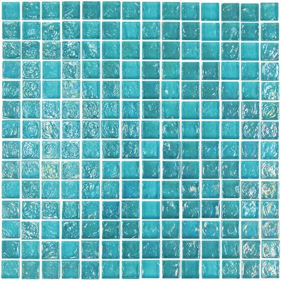 "Onix USA Geo Glass Square 4/5"" x 4/5"" Glass Mosaic in Blue"