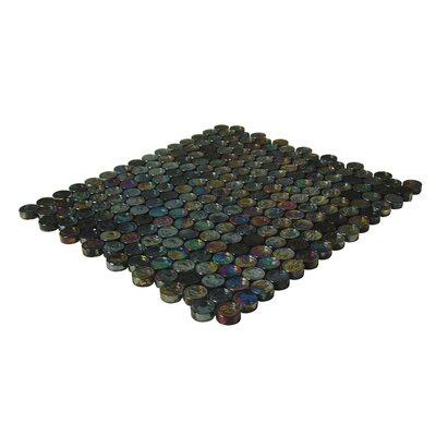 "Onix USA Geo Glass Circle 11-1/2"" x 12-3/10""  Glass Mosaic in Black"