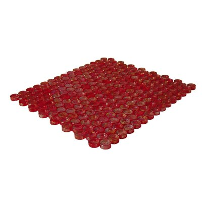 Onix USA Geo Glass Circle Glass Mosaic in Red