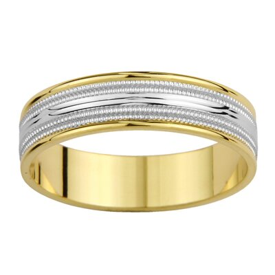 14k Two-tone Gold Men's Milgrain Easy Fit Wedding Band