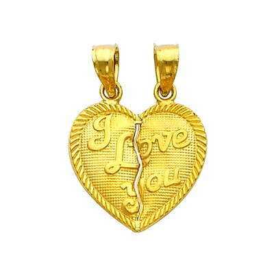 Precious Stars 14k Solid Gold 'I Love You' Double Bail Broken Heart Pendant