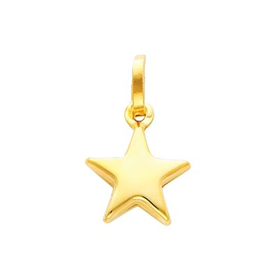 14k Solid Gold Hollow Star Pendant