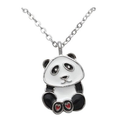 Silvertone and Enamel Animal Panda Necklace