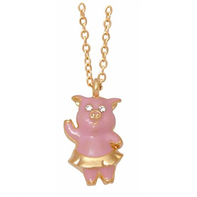 Goldtone and Enamel Animal Pig Necklace