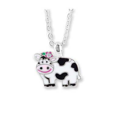 Silvertone and Enamel Animal Cow Necklace