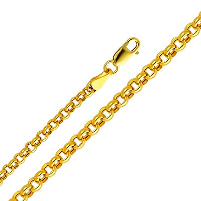 14kt Yellow Gold 3.8mm Hollow Rolo Chain Bracelet (8in)