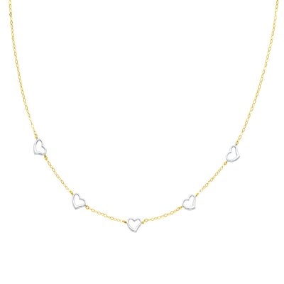 14K Solid Gold Two Tone Heart Link Necklace