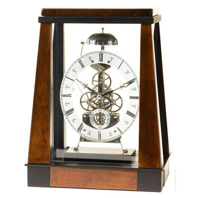 River City Clocks Burl Wood Skeleton Clock with Silver Dial