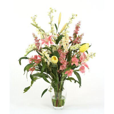 Distinctive Designs Pastel Silk Floral Mix in Slightly Tapered Vase