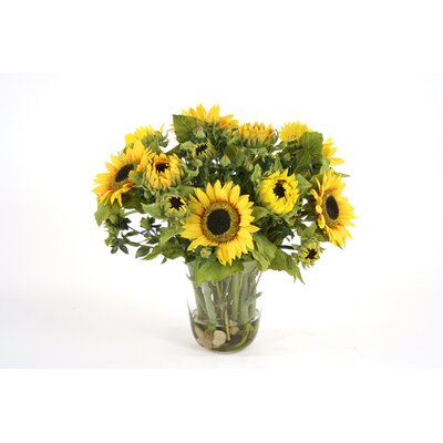 Distinctive Designs Silk Sunflowers in Glass Vase