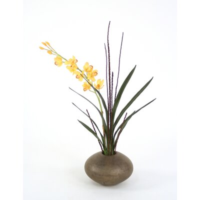 Distinctive Designs Silk Cymbidium Orchid in Crystal Pot