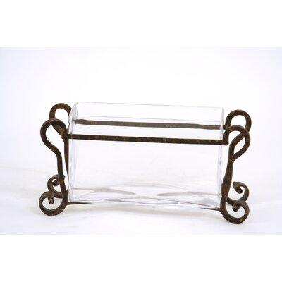 Distinctive Designs Clear Glass Pillow Vase in Wrought Iron Stand