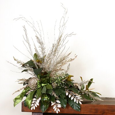 Distinctive Designs Artificial Magnolia Foliage Arrangement with Ornaments