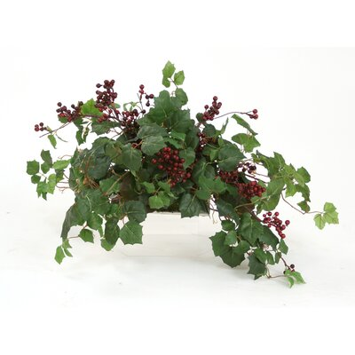 Distinctive Designs Topper with Silk Danica Ivy, Galax Leaves and Wild Berries on Tray