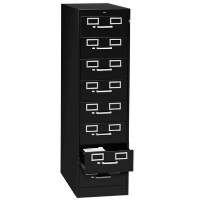 Tennsco Corp. 8-Drawer Card Cabinet, w/Lock, Black/Sand
