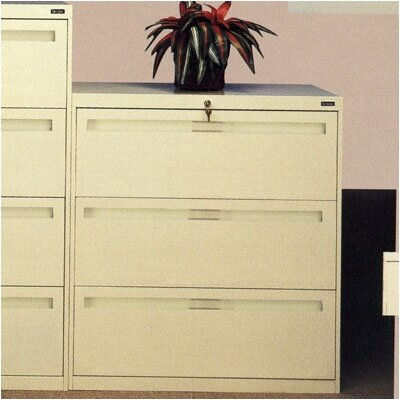 Tennsco Corp. Lateral File With 3 Drawers and Fixed Drawer Fronts