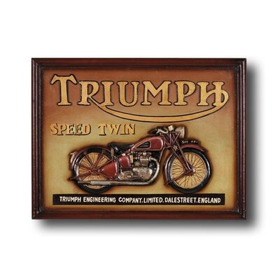 RAM Gameroom Products Hand-Carved Triumph Speed Twin Motorcycle Sign