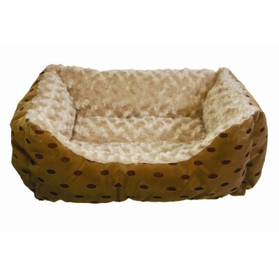Happy Tails Polka Dot Cuddler Bolster Dog Bed with Swirl
