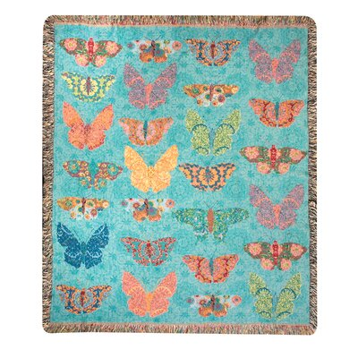 Manual Woodworkers & Weavers Butterfly Kaleidoscope Tapestry Cotton Throw