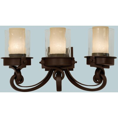 Kalco Newport 3 Light Bath Vanity Light with Tea Stained Glass Shade