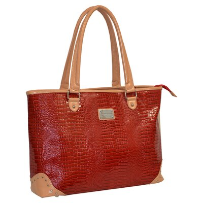 Patent Croco Oversized Laptop Tote