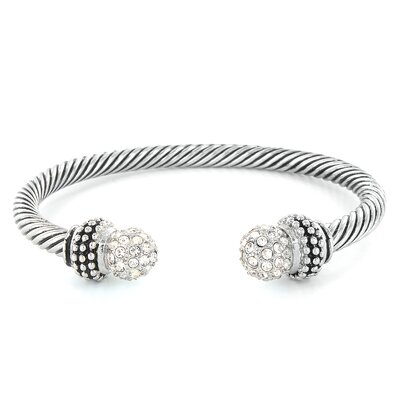 Cable Crystal Ball Ends Bracelet