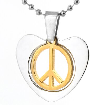 Stainless Steel Peace Sign and Heart Necklace