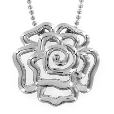 Stainless Steel Hollow Rose Necklace