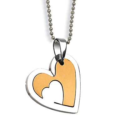 West Coast Jewelry Stainless Steel Two Tone Heart Necklace