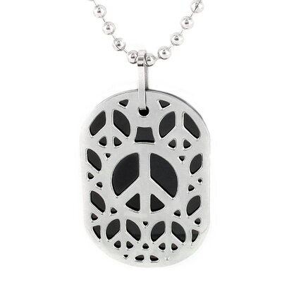 West Coast Jewelry Stainless Steel Cut-out Peace Sign Dog Tag Necklace