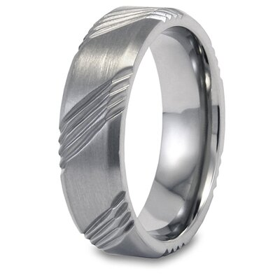 Titanium Brushed Grooved Ring