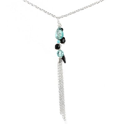 Silvertone Glass Bead Drop Necklace
