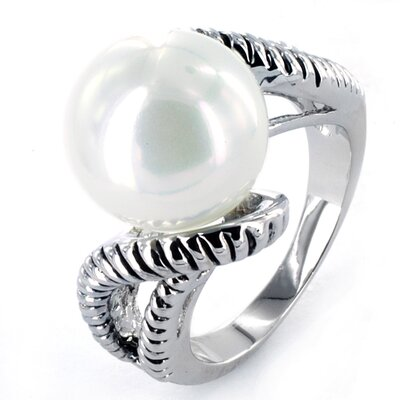 West Coast Jewelry Antiqued Silvertone Faux Pearl Fashion Ring