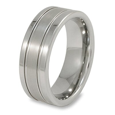 Men's Tungsten Carbide Flat Brushed Grooved Comfort Fit Ring