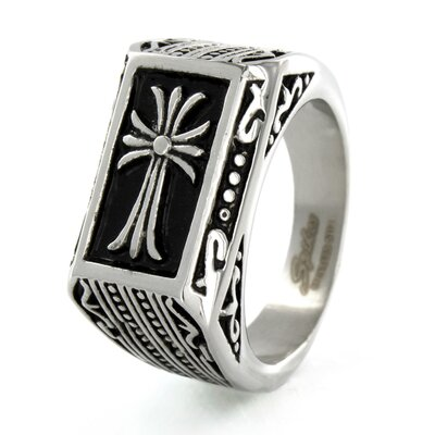 Stainless Steel Textured Frame Cross Ring