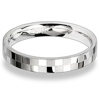 West Coast Jewelry Two-tone Stainless Steel Checkered Band Ring