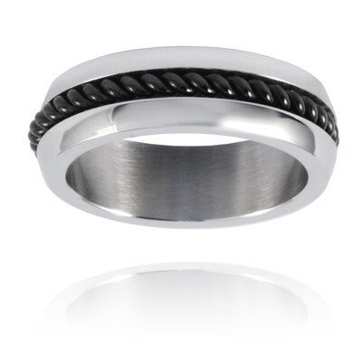 West Coast Jewelry Stainless Steel Twisted Cable Inlay Band Ring
