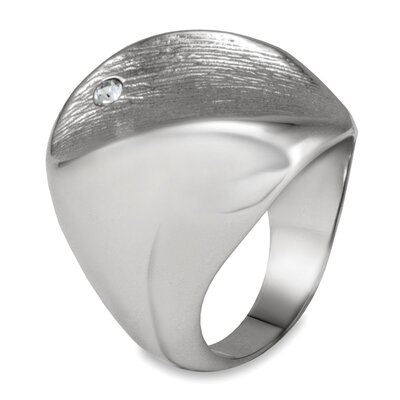 Accent Textured Free Form Stainless Steel Cubic Zirconia Band Ring
