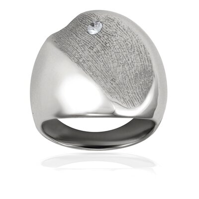 West Coast Jewelry Accent Textured Free Form Stainless Steel Cubic Zirconia Band Ring