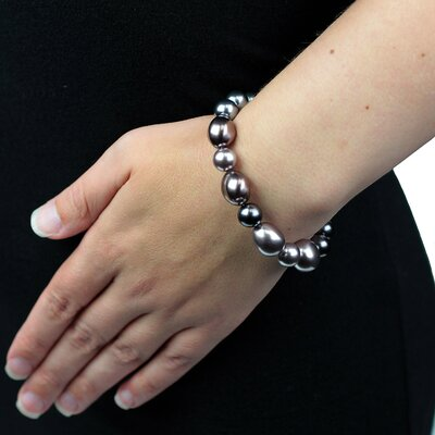 West Coast Jewelry Glass Pearls on Stretch Bracelet