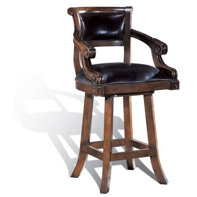Leather Swivel Counter Stool in Dark Brown