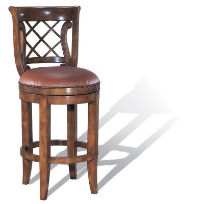 Legion Furniture Windsor Swivel Bar Stool in Dark Amber Cherry