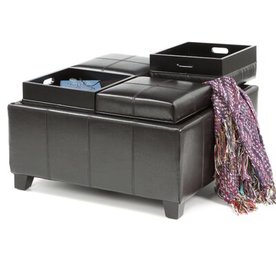 Home Loft Concept Ferguson Bonded Leather Tray Top Storage Ottoman